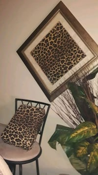 Leopard Framed print  , and bar stool chair with pillow