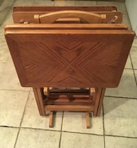 4 Solid Wood TV Dinner Trays & Stand Palatine, 60074