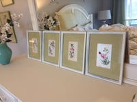 Set and embroidered bird and flowers in white frames, picture