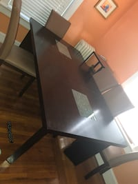 Wood table, 6 leather chairs BEST OFFER must take tonight 9/10 Cranston, 02910