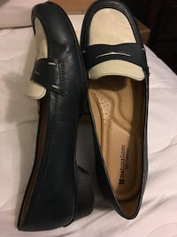 black-and-white leather penny loafers Houston, 77373