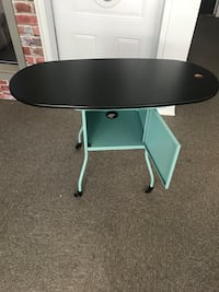 round black and white wooden table