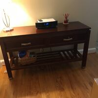 brown wooden 2-drawer console table null