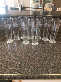 9 tall beer glasses in very good condition