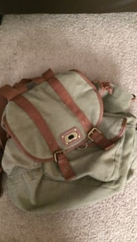brown and green backpack