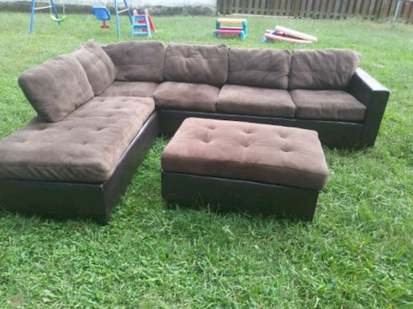 Peachy Used Brown Suede Sectional Couch With Ottoman For Sale In Onthecornerstone Fun Painted Chair Ideas Images Onthecornerstoneorg