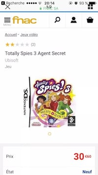 Totally Spies Nintendo DS jeu couverture de la couverture du boîtier Paris, 75013