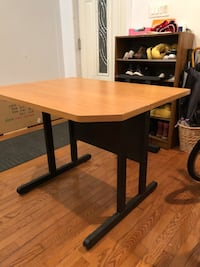 Heavy duty wooden desk with metal legs