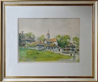 Original color lithograph of painting by Swiss artist Otto Baumberger