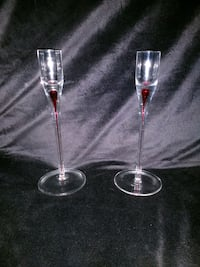 "Red/clear glass candle holders - 8"" tall Matthews, 28104"