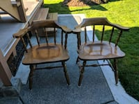 1960 wood captain chairs
