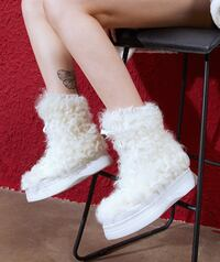 FOXY CHIC KATE MOLA FAUX FUR CHUNKY THICK SOLE SNOW BOOTS Istanbul