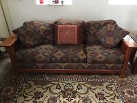 Brown and red floral fabric 3-seat sofa 403 mi
