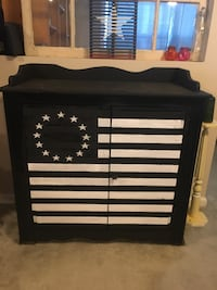 Black and rustic American flag handmade tv stand/ cabinet Winston-Salem, 27103