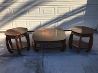 Two hardwood end tables and coffee table by Gordon's furniture Johnson City Tennessee  Henderson, 89014