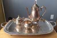 """4-PIECE VINTAGE SILVER PLATED TEA SET WITH 18"""" SERVING TRAY Richmond Hill"""