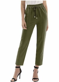 Elastic Waist Drawstring Pant Trouser,S,XX-Large available,Army Green