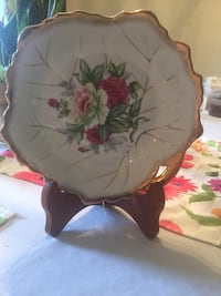 white and pink floral ceramic plate 1200 mi