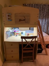 Wooden Twin Over Twin Bunk Beds with Desk And Storage