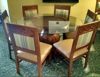 Solid wood and thick glass 6 chairs dining table Anaheim, 92806