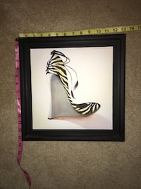 black wooden framed painting of zebra Coquitlam, V3C 6J2
