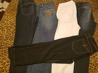 two black and white jeans