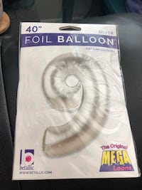 """New 40"""" Number 9 Silver Megaloon Foil Mylar Balloon! Concord, 94520"""