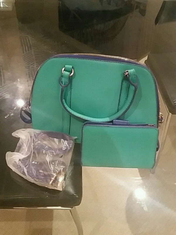 green leather 2-way bag