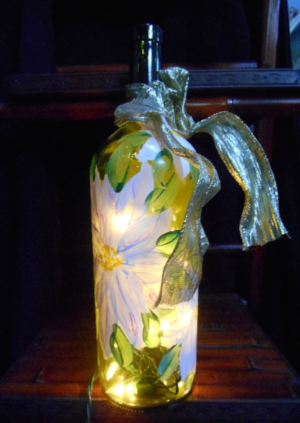 One of a kind Hand Painted Wine Bottle Lamp