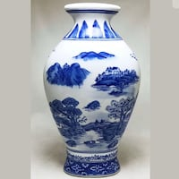 Formalities By Baum Bros Blue White Porcelain Oval Vase Made In China Carson, 90745