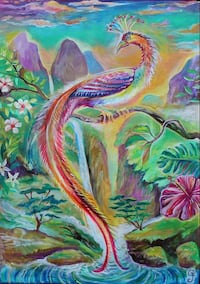 assorted colors of peacock painting near waterfalls Bangor, 49013