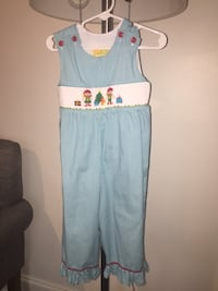 Christmas Elf smocked jumper w snaps at legs 2T New Orleans, 70121