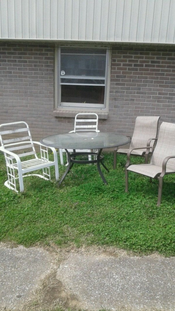 Patio furniture for chairs one glass table - Used Patio Furniture For Chairs One Glass Table For Sale In