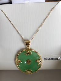 Beautiful Jade necklace 14K over sterling silver brand new!