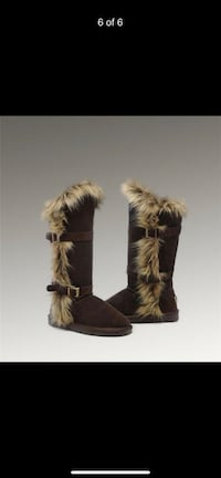 Fox fur tall boots