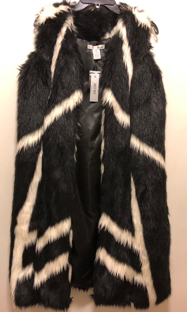Black and white faux fur duster