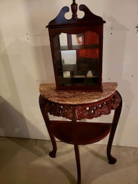 Cherry wood and marble table with cabinet Gatineau, J9A 3E1