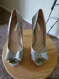 pair of gray leather peep toe heels District Heights, 20747