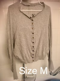 gray button-up cardigan