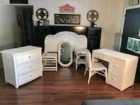 8 piece BEAUTIFUL white rattan wicker bedroom set with desk/vanity with glass top and mirror