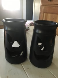Two ceramic candle holders