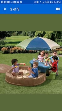 Pool or sandbox with picnic table attached