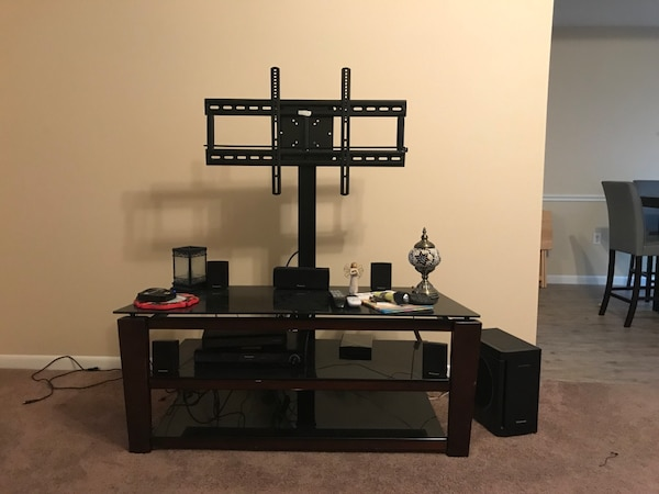 Used Dark Cherry Wooden Tv Stand With Mount 3 Tier With Glass Tops
