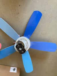 Two fans/lights - pink and blue blades