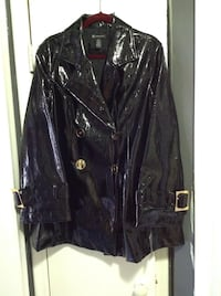 black leather peacoat