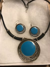 NECKLACE EARRINGS SET TURQUOISE  WITH LARGE RING