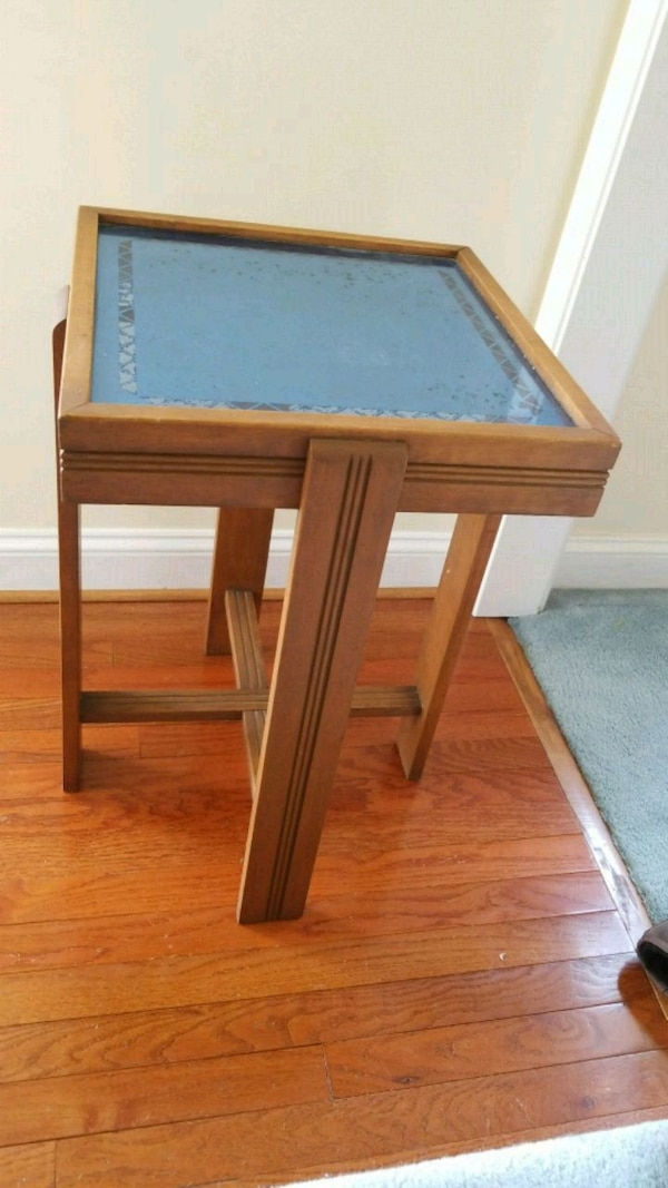 Art Deco wooden framed glass top side table