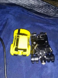 two black and yellow car die-cast models