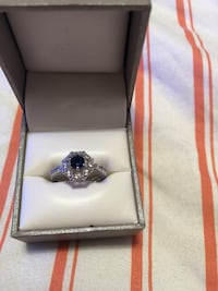 Lab created sapphire and sterling ring 714 mi