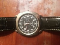round black chronograph watch with black leather strap Germantown, 20876